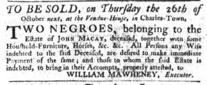 Oct 5 - South-Carolina Gazette Slavery 3