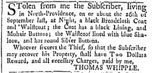Oct 7 - 10:7:1769 Providence Gazette