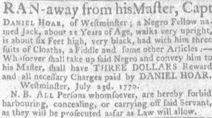 Aug 2 - Massachusetts Gazette and Boston Weekly News-Letter slavery 1