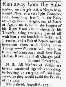 Aug 7 - Essex Gazette slavery 1