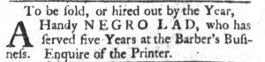 Aug 7 - South-Carolina Gazette and Country Journal slavery 1