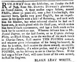Aug 7 - South-Carolina Gazette and Country Journal slavery 4