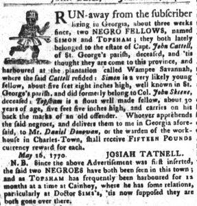 Jul 24 - South-Carolina Gazette and Country Journal supplement slavery 5