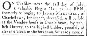 Jul 25 - South-Carolina and American General Gazette slavery 1