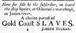 Jun 14 - Virginia Gazette Rind Slavery 1