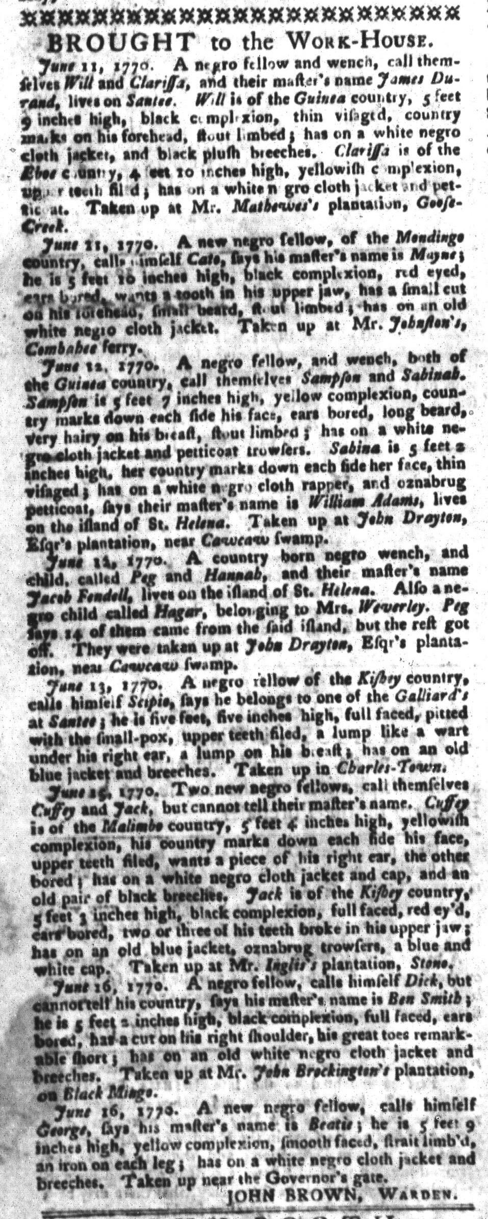Jun 19 - South-Carolina Gazette and Country Journal Slavery 4