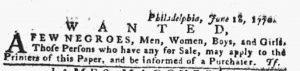 Jun 21 - Pennsylvania Gazette Slavery 1