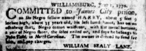 Jun 21 - Virginia Gazette Purdie and Dixon Slavery 4