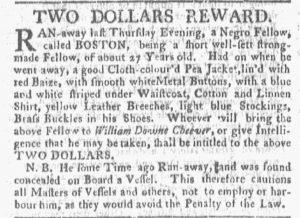 Jun 25 - Boston Gazette and Country Journal Slavery 1