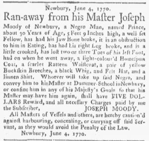Jun 25 - Boston Gazette and Country Journal Supplement Slavery 1