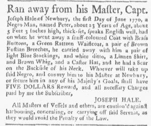 Jun 25 - Boston Gazette and Country Journal Supplement Slavery 2