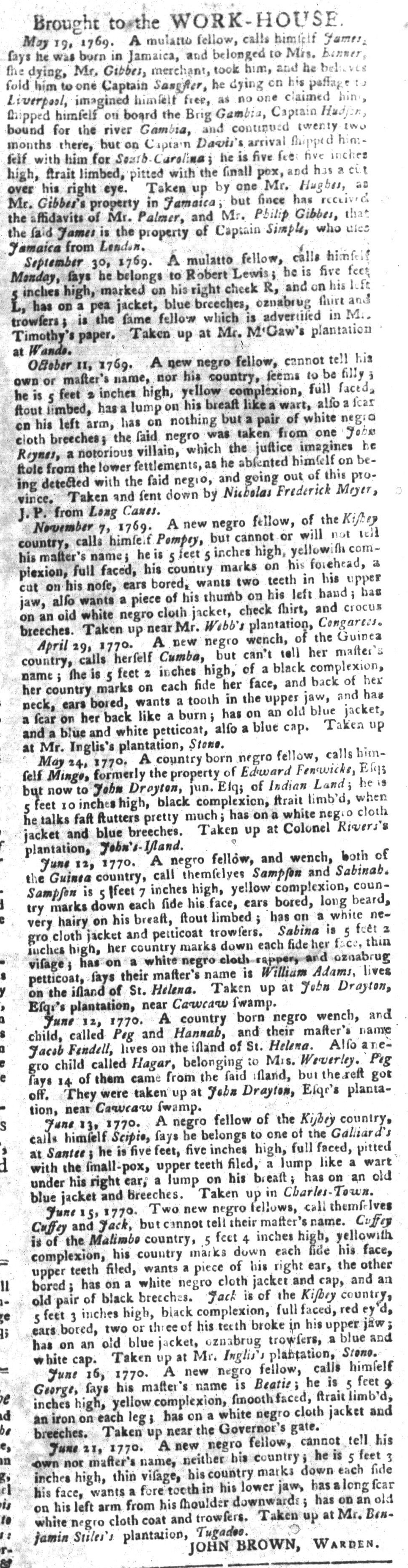 Jun 26 - South-Carolina Gazette and Country Journal Slavery 8