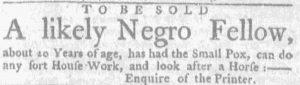 Jun 28 - Massachusetts Gazette and Boston Weekly News-Letter slavery 1