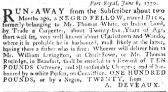 Jun 28 - South-Carolina Gazette slavery 10
