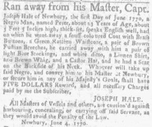 Jun 7 - Massachusetts Gazette and Boston Weekly News-Letter Slavery 1