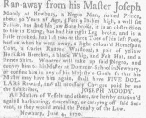 Jun 7 - Massachusetts Gazette and Boston Weekly News-Letter Slavery 2
