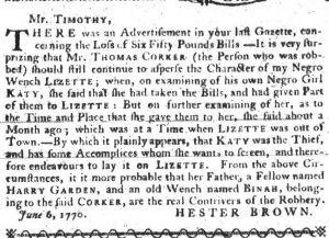 Jun 7 - South Carolina Gazette Slavery 1