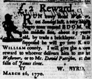 Jun 7 - Virginia Gazette Purdie and Dixon Slavery 8