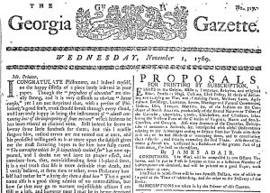 Nov 1 - 11:1:1769 Georgia Gazette