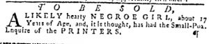 Nov 16 - Pennsylvania Gazette Slavery 1