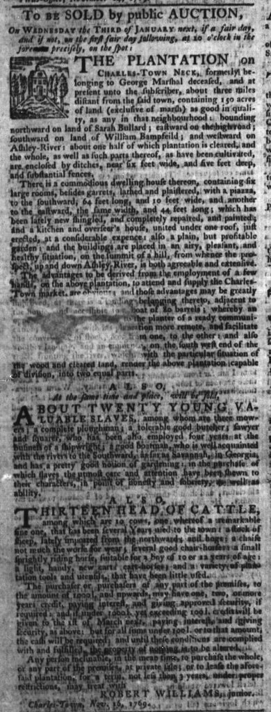 Nov 16 - South-Carolina Gazette Slavery 2