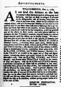 Nov 16 - Virginia Gazette Purdie and Dixon Slavery 1