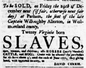 Nov 16 - Virginia Gazette Purdie and Dixon Slavery 6