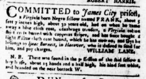 Nov 16 - Virginia Gazette Purdie and Dixon Slavery 7
