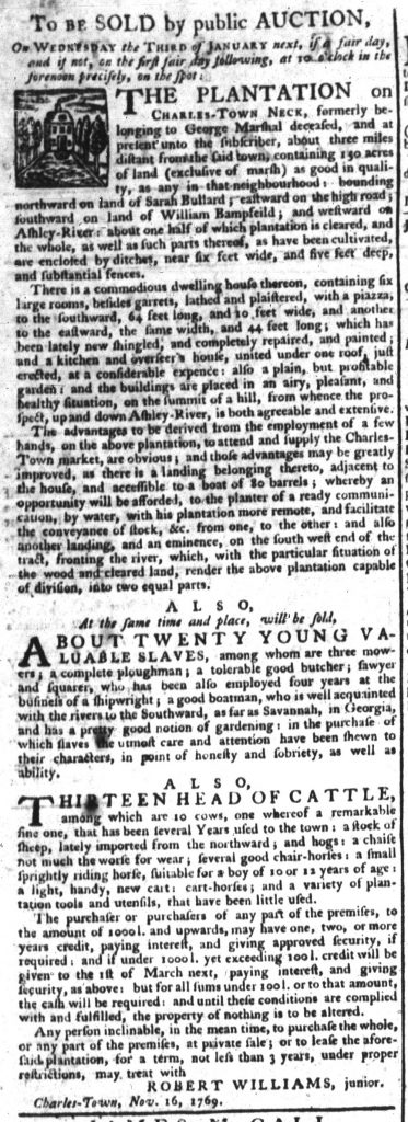 Nov 23 - South-Carolina Gazette Supplement Slavery 1