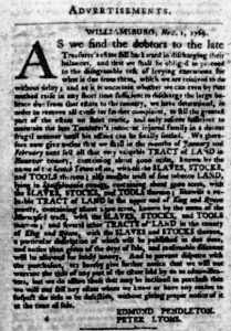 Nov 23 - Virginia Gazette Purdie and Dixon Slavery 1