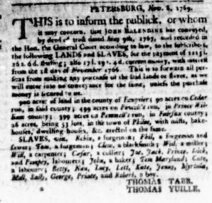 Nov 23 - Virginia Gazette Purdie and Dixon Slavery 4