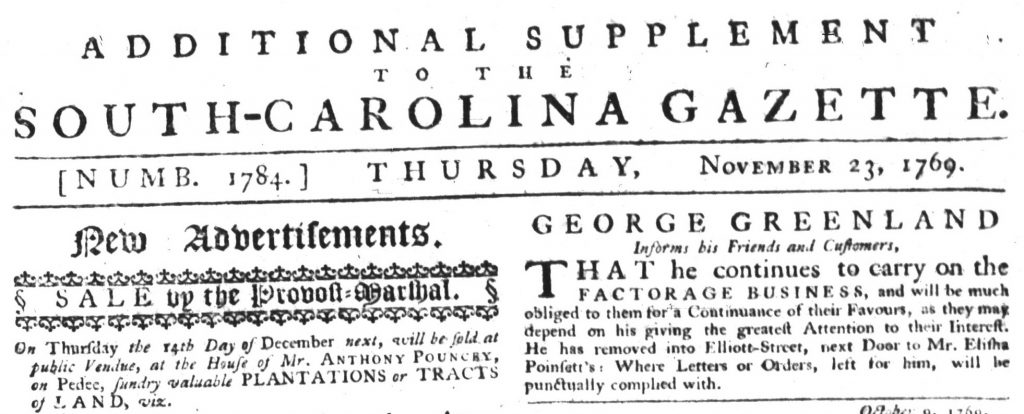 Nov 26 - 11:23:1769 South-Carolina Gazette Additional Supplement