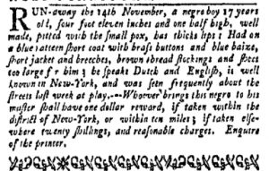 Nov 27 - New-York Gazette and Weekly Mercury Slavery 2
