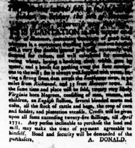 Nov 30 - Virginia Gazette Rind Slavery 1