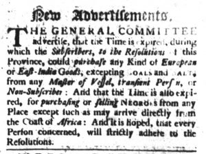 Nov 9 - South-Carolina Gazette Slavery 3