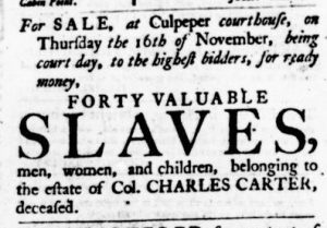 Nov 9 - Virginia Gazette Purdie and Dixon Slavery 15