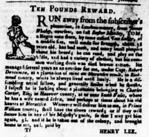 Nov 9 - Virginia Gazette Purdie and Dixon Slavery 19