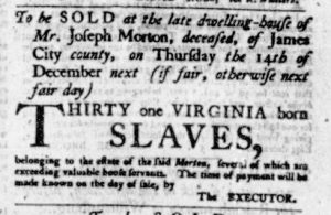 Nov 9 - Virginia Gazette Purdie and Dixon Slavery 2