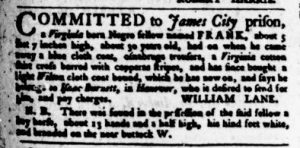 Nov 9 - Virginia Gazette Purdie and Dixon Slavery 6