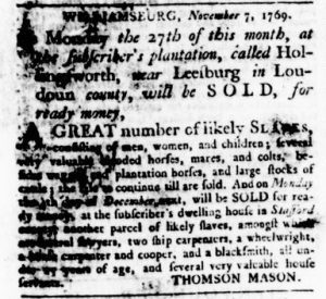 Nov 9 - Virginia Gazette Rind Slavery 1