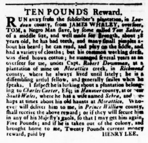 Nov 9 - Virginia Gazette Rind Slavery 11