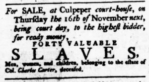 Nov 9 - Virginia Gazette Rind Slavery 9