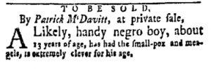 Dec 11 - New-York Gazette and Weekly Mercury Slavery 1