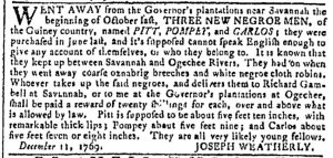 Dec 13 - Georgia Gazette Slavery 1