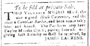 Dec 13 - South-Carolina and American General Gazette Slavery 1