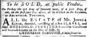 Dec 28 - South-Carolina Gazette Additional Supplement Slavery 2