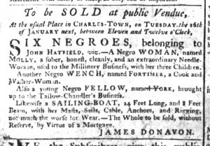 Dec 28 - South-Carolina Gazette Supplement Slavery 1