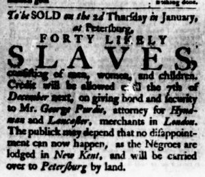 Dec 28 - Virginia Gazette Purdie and Dixon Slavery 1