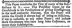 Dec 31 - 12:28:1769 Massachusetts Gazette and Boston Weekly News-Letter