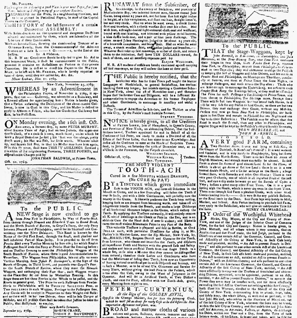 Dec 4 - 12:4:1769 Woodcuts New-York Gazette or Weekly Post-Boy